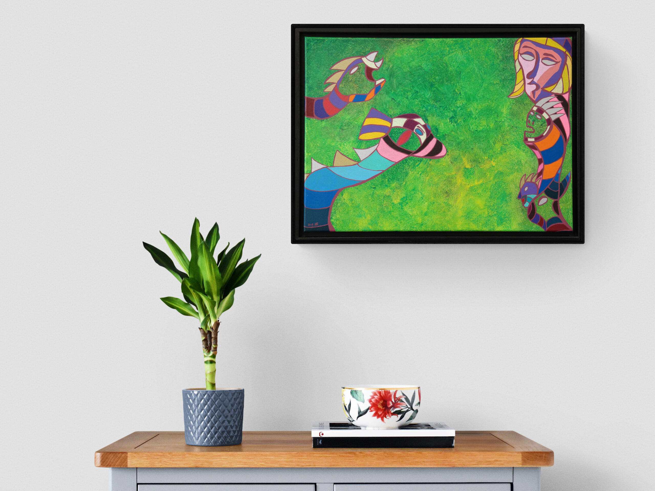 Grassland one in interior, a figurative abstract painting by Jasper Bos